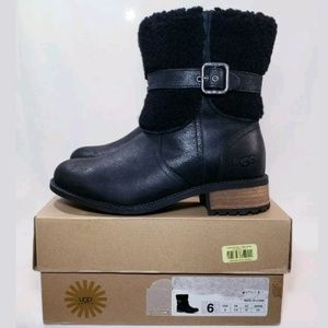 UGG Boots, Black Leather, Size 6